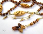 Collana rpsario con croce e grani di ulivo della Terra Santa